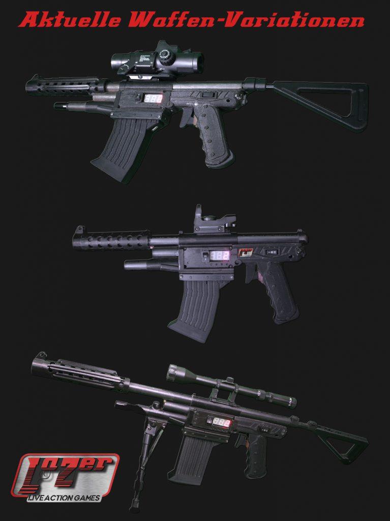 LaZerTag REVO Waffen Variationen am Spielgelände Kärnten